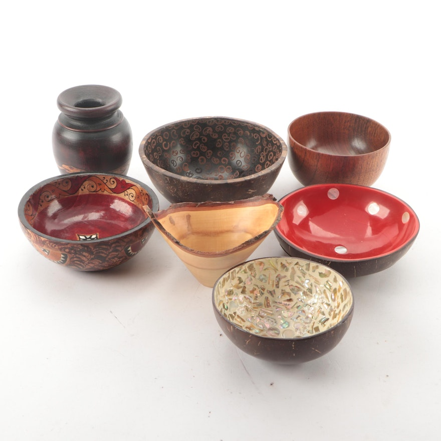 Joe Smith Turned Wood Bowl with Other Decorative Bowls