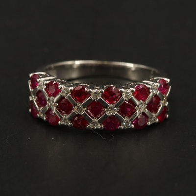 EFFY 14K WHITE GOLD DIAMOND, NATURAL MOZAMBIQUE RUBY RING