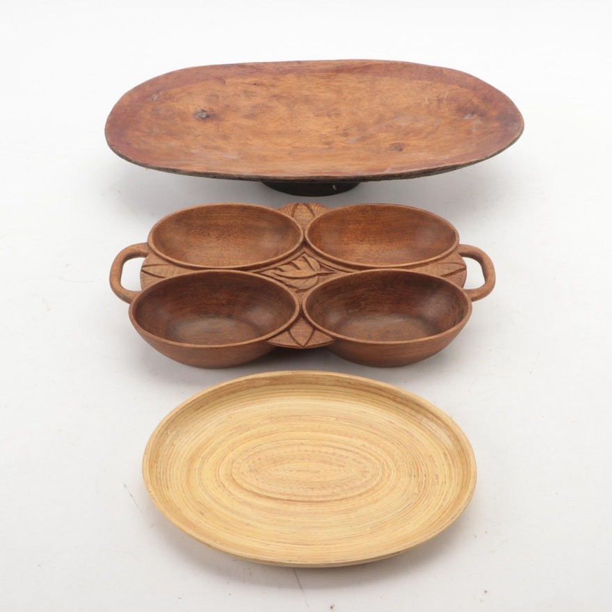 Sepik River Region and Other Wood and Woven Fiber Trays and Serving Dishes