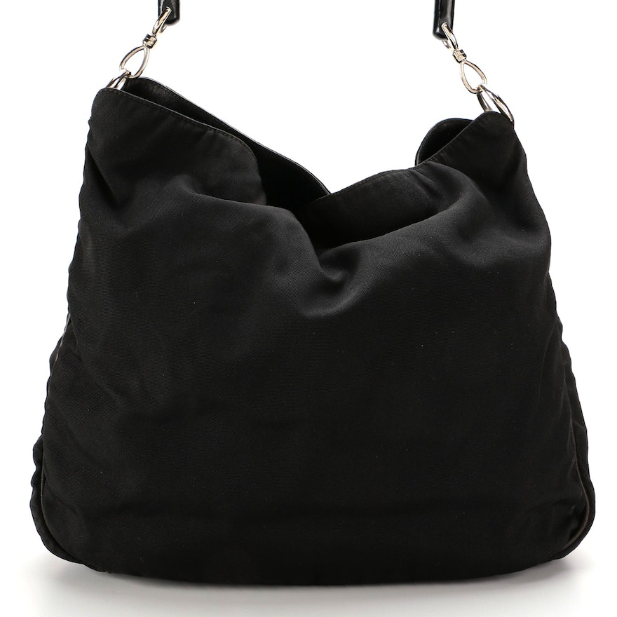Gucci Two-Way Shoulder Bag in Black Nylon with Bamboo Handle and Leather Trim