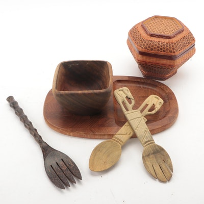 Dansk Teak Cheese Board with Other Wooden Serving Utensils and Basket