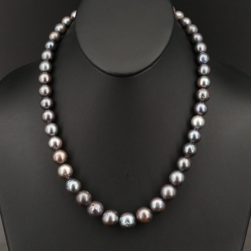 18K Graduated Tahitian Pearl and Diamond Necklace