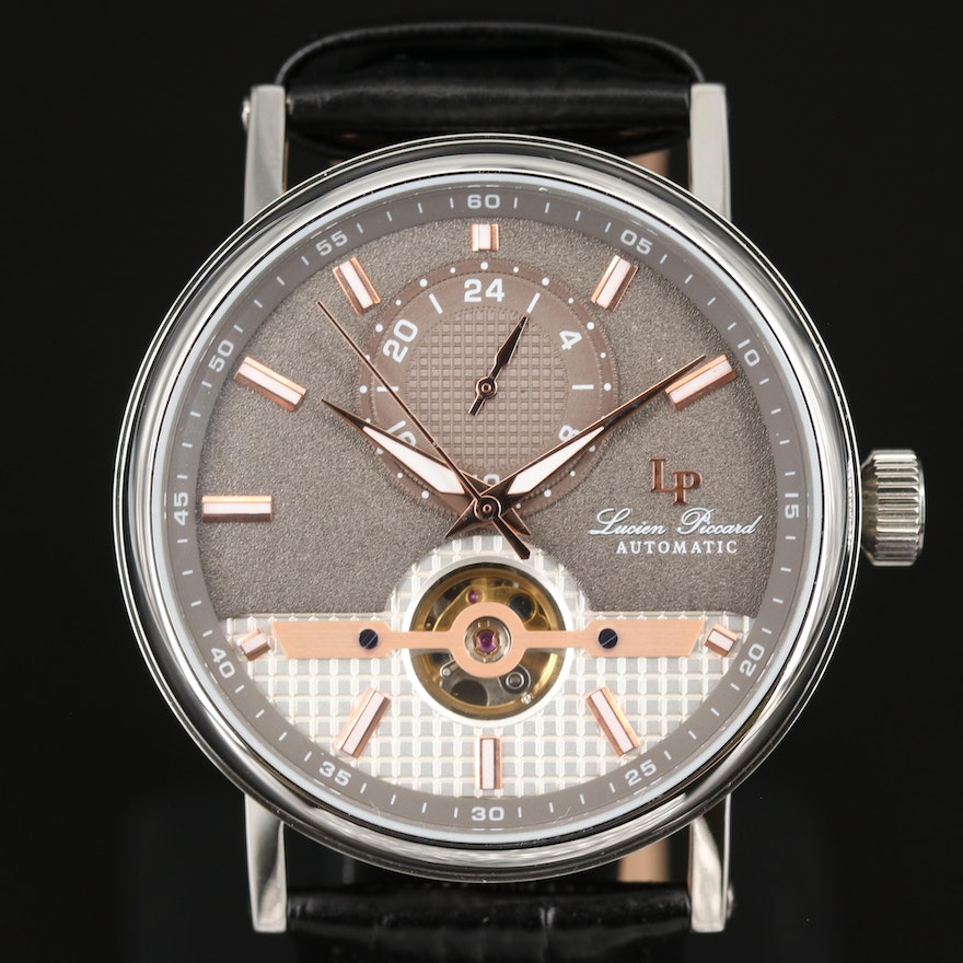 Lucien Piccard Open Heart 24 Stainless Steel Automatic Wristwatch