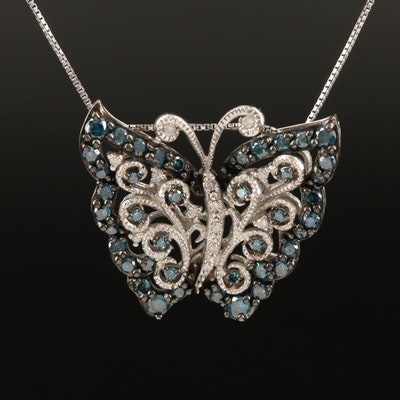 Sterling 1.20 CTW Diamond Butterfly Necklace