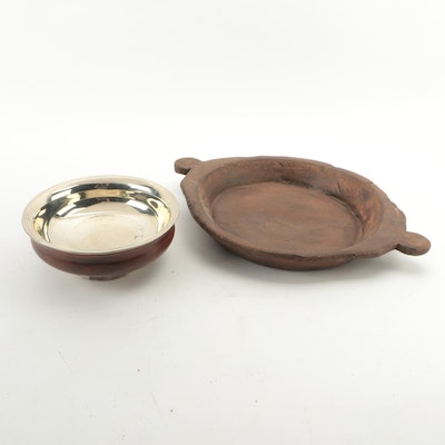 Wooden Dough Board, 19th Century and Turned Wooden Bowl with Silver Plate Lining