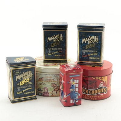 F.N. McCafferty Co. Jersey Butter Cream Cookies Tin, Maxwell House, and Others