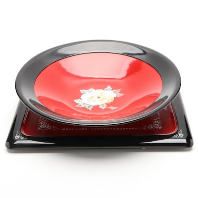 Mother-of-Pearl Inlaid Red & Black Lacquerware Tray and Bowl