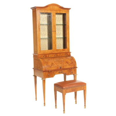 Neoclassical Style Inlaid Walnut Cylinder Desk with Bookcase and Bench