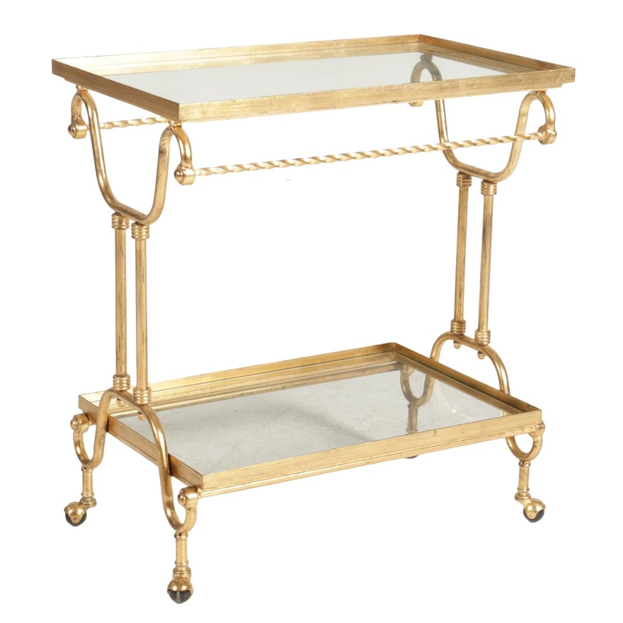 """Horchow """"Amy"""" Gilt Iron and Glass Two-Tier Metal Serving Cart"""