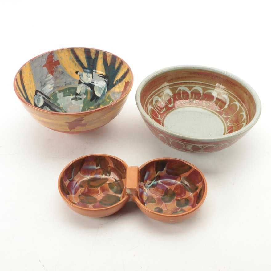 Contemporary Studio Pottery Ceramic Bowls and Double Nut Bowl