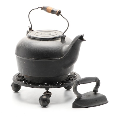 Cast Iron Tea Kettle, Iron, and Plant Stand on Wheels