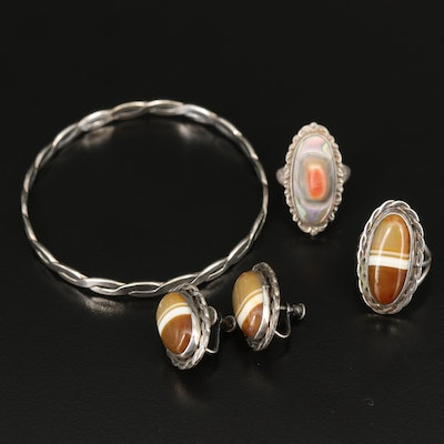 Sterling Jewelry Selection Including Agate and Abalone