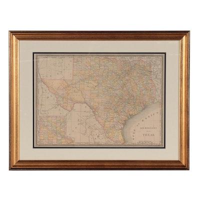 """Rand, McNally & Co. Wax Engraving """"Map of Texas,"""" Circa 1890"""