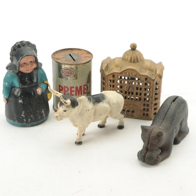 Cast Iron and Oil Can Still Banks with Dutch Lady, Ox and More
