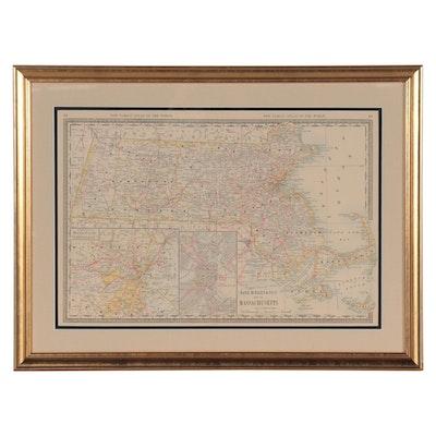 "Rand, McNally & Co. Wax Engraving ""Map of Massachusetts,"" Circa 1895"