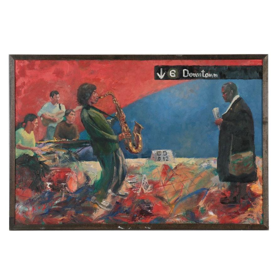"Kaz Ooka Figurative Oil Painting ""Musicians,"" 2007"