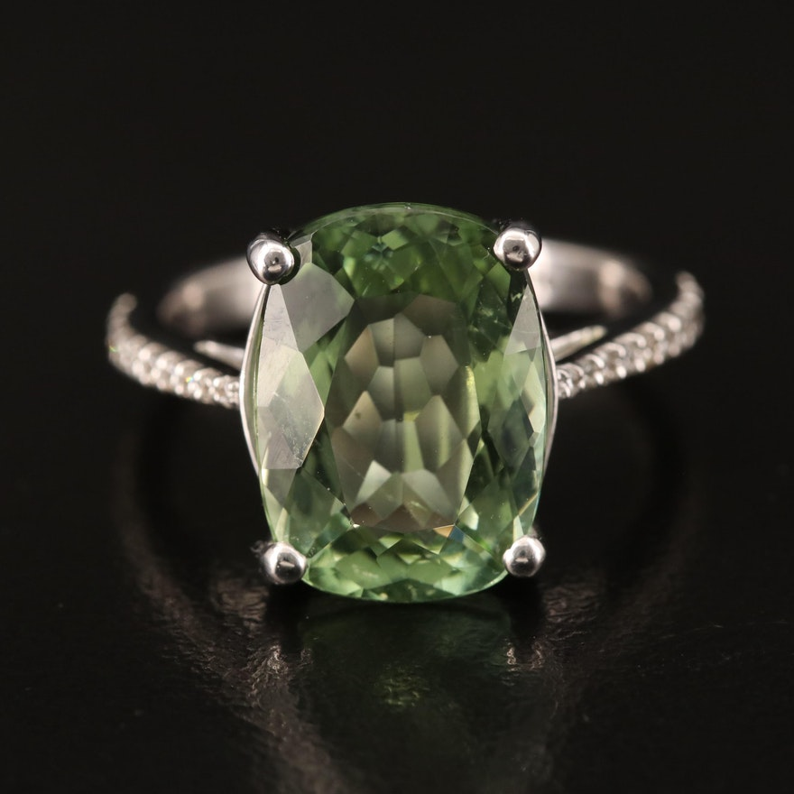 14K 6.85 CT Tourmaline and Diamond Ring