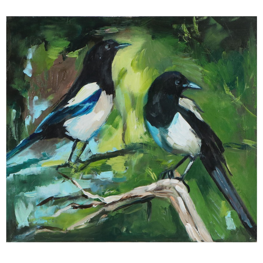 """Adam Deda Oil Painting """"Magpies,"""" 2020"""