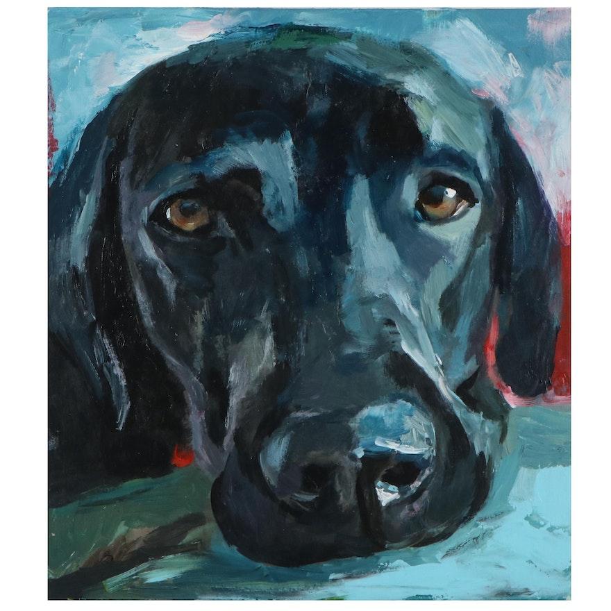 "Adam Deda Oil Painting ""Black Labrador,"" 2020"