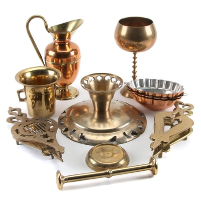 Brass and Copper Table Accessories, 20th Century