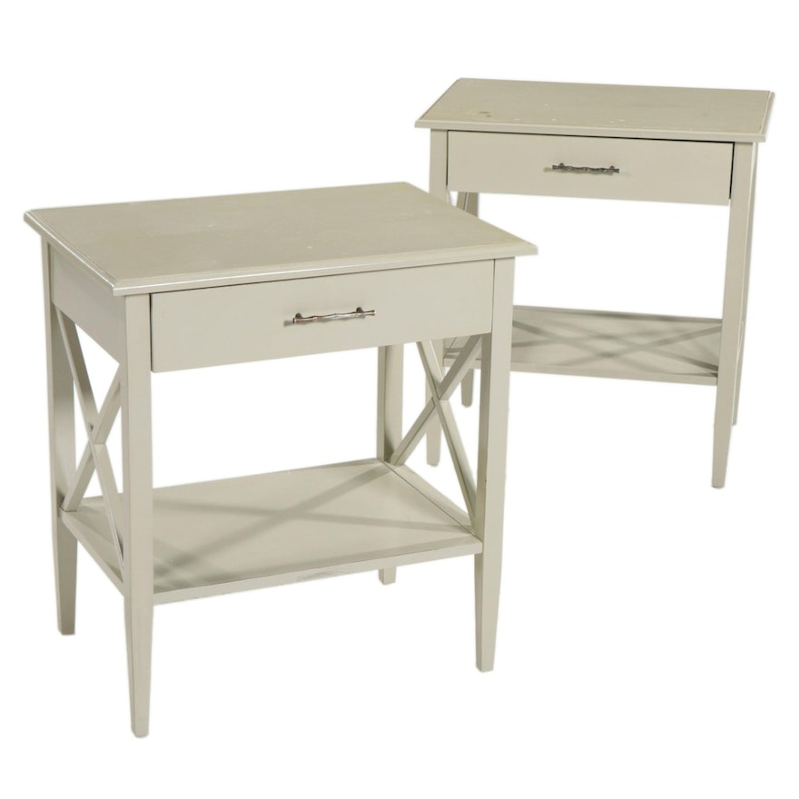 Pair of Contemporary Painted Wood Nightstands