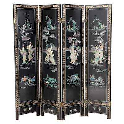 TAYEast Hand-Painted and Shell Inlaid Four-Panel Folding Screen