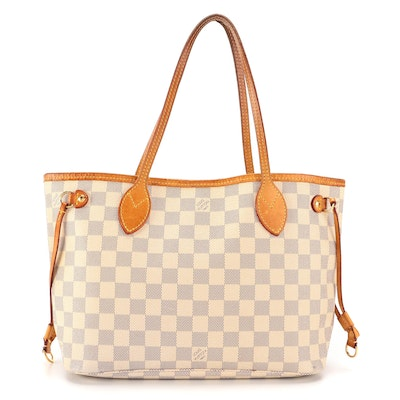 Louis Vuitton Neverfull Tote in Damier Azur Coated Canvas