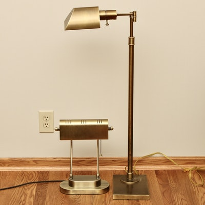 Brushed Brass Swing-Arm Floor Lamp and Banker's Desk Lamp
