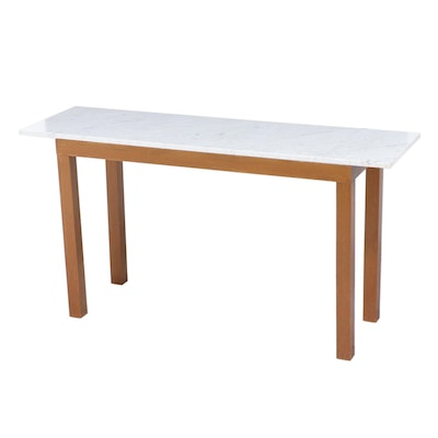 Parsons Style Painted Wood and White Marble Console Table