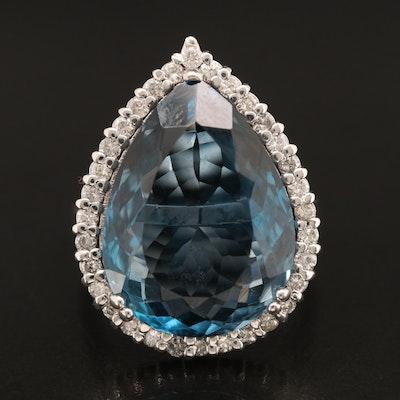 14K 16.49 CT London Blue Topaz and Diamond Ring