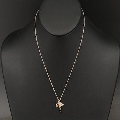 Sterling Silver Diamond Evil Eye, Hamsa and Love Amulet Necklace