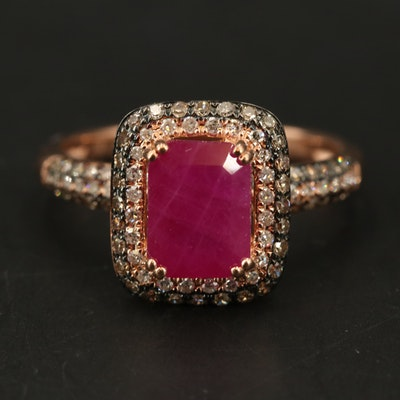 14K ROSE GOLD DIAMOND, ESPRESSO DIAMOND, NATURAL RUBY RING