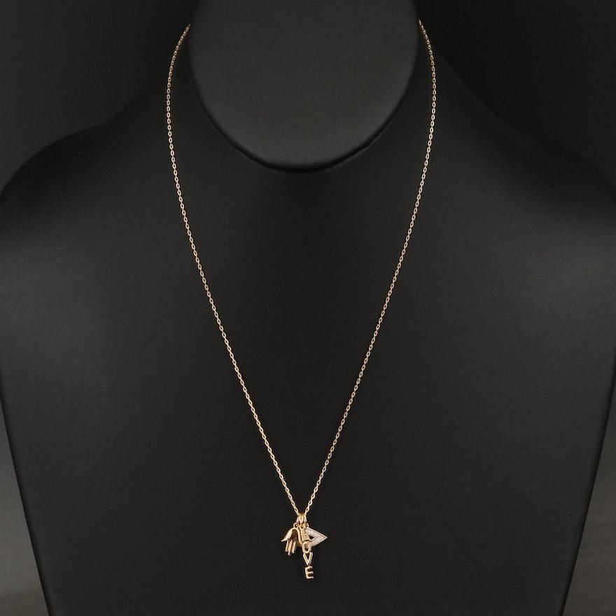 "Sterling Silver Diamond Evil Eye, Hamsa and ""Love"" Charm Necklace"
