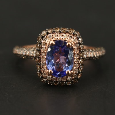 14K ROSE GOLD DIAMOND, ESPRESSO DIAMOND, TANZANITE RING