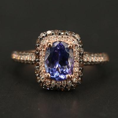 EFFY 14K ROSE GOLD DIAMOND, ESPRESSO DIAMOND, TANZANITE RING