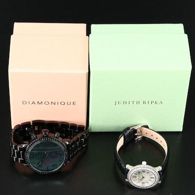 """Judith Ripka White Topaz and Diamonique """" The Huxley"""" Wristwatches"""
