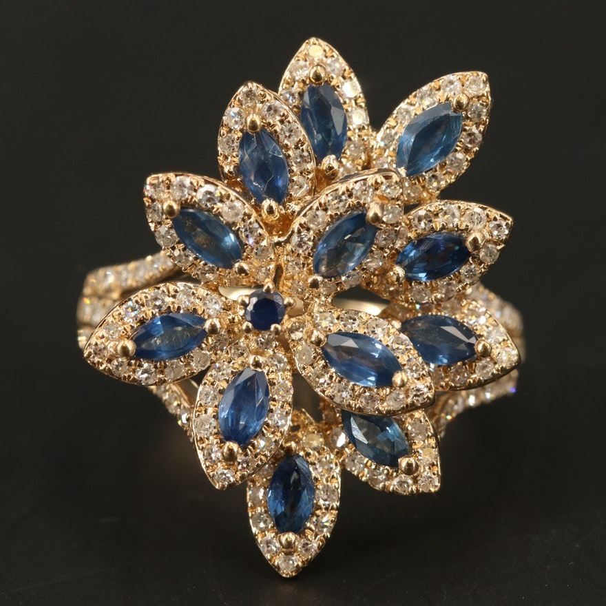 EFFY 14K YELLOW GOLD DIAMOND, NATURAL SAPPHIRE RING