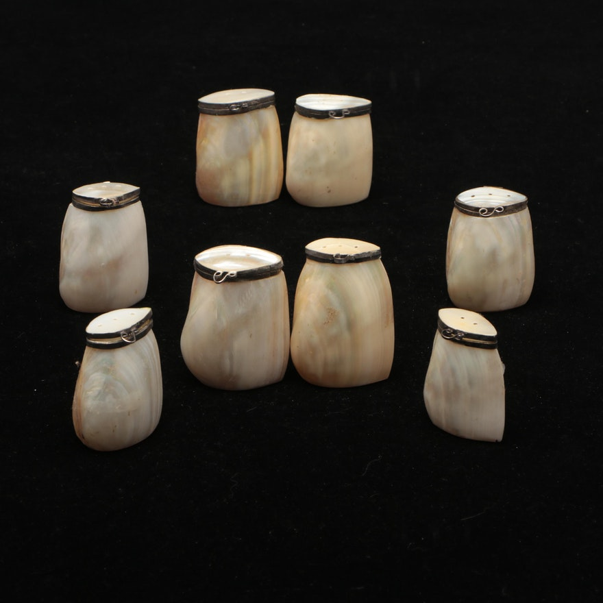Indian Mother-of-Pearl Salt and Pepper Shakers, Mid-20th Century