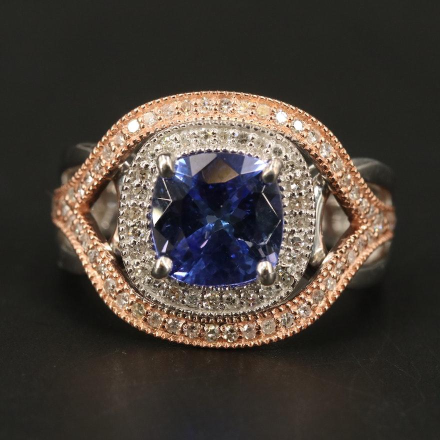 EFFY 14K WHITE & ROSE GOLD DIAMOND, TANZANITE RING