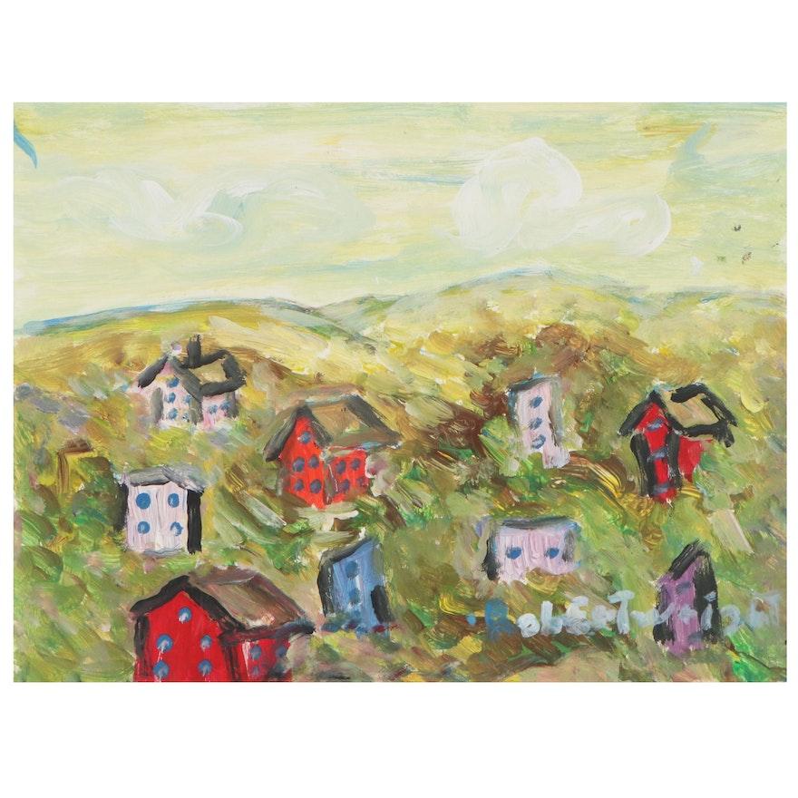 Robert Wright Folk Art Acrylic Painting of Village