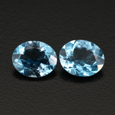 Matched Pair of Loose 7.54 CTW Swiss Blue Topaz