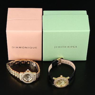 "Judith Ripka ""Summit"" and Diamonique "" Clear Bracelet"" Wristwatches"