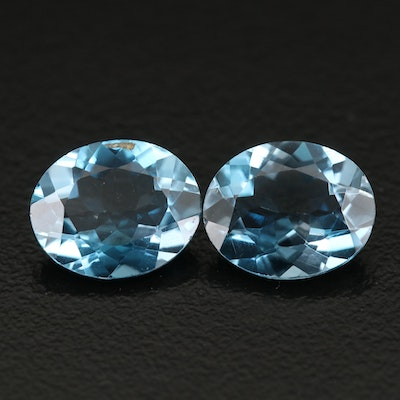 Loose London Blue 7.42 CTW Matched Pair Topaz