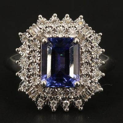EFFY 14K WHITE GOLD DIAMOND, TANZANITE RING