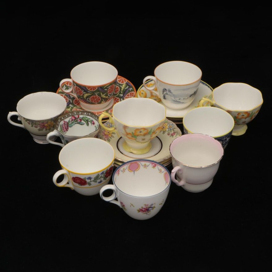 Minton, Royal Albert, and Other Bone China Tea Cups with Saucers