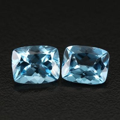 Matched Pair Loose 7.50 CT Swiss Blue Rectangular Topaz