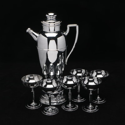 Art Deco Cocktail Shaker Music Box with Silver Plate Coupes