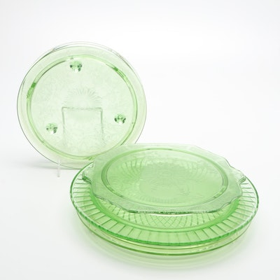 Green Glass Serving Trays