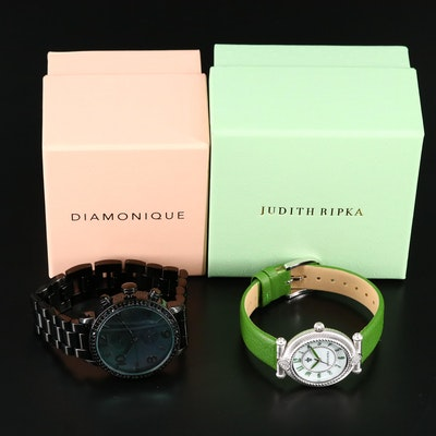"Judith Ripka ""Parisian"" and Diamonique ""The Huxley"" Wristwatches"