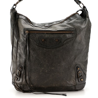 Balenciaga Classic Day Hobo Bag in Black Chevre Leather
